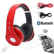 New Foldable Wireless Bluetooth 4.2 Headset Stereo Red Headphone Handsfree  UKDC