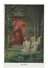 Priest in Robe in Church w/ Angel Children Praying Outside Ave Maria Postcard