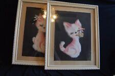 Pair VTG 1950s 1960s framed Cats Kittens FURRY White plush fur Pink airbrush
