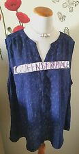 Dalia Women's Plus Size 3X Blue White Print Button Sleeveless Tank Top Shirt EEU
