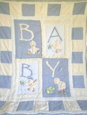 Vintage Blue Chenille Cotton Patchwork Boys Cot Crib Quilt Baby Blanket