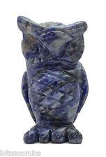 Owl Blue Sodalite Hand Carved Gemstone Animal Totem Statue Stone Sculpture