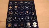 lot of  25 vintage charms, pins, cracker jack pieces some antique