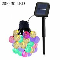 Colorful 20ft 30 LED Solar String Ball Lights Outdoor Waterproof Garden Decor