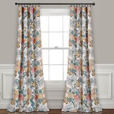 Blue Yellow Gorgeous Floral Print Room Darkening Curtains Set Panels Drapes 84""