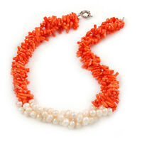 Statement 3 Strand Twisted Orange Coral and Cream Freshwater Pearl Necklace with