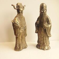 SOLID BRASS FU-HSING HAPPINESS AND SH-HSING LONG LIFE GOD FIGURES