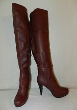 New Women Farenheit FHR wine Leather Over the Knee Boots