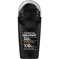 lot 3 Déodorant Roll-on Men Black minéral Ultra-absorbant L'OREAL MEN EXPE 50 ml