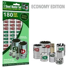 Master Set - Eye Saver Chrome Labels for Socket Sets & Wrenches foil decals tags