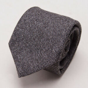 New $225 BATTISTI NAPOLI Slim Gray-Brown Glen Plaid Wool Tie w/ Gift Box