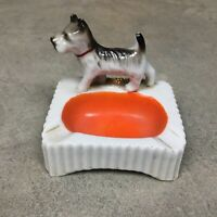 VINTAGE SCHNAUZER DOG MADE IN JAPAN Ashtray Cigarette Small Ceramic Figural