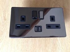 3 X Double Plug Sockets switch with USB PORTS 2 GANG 13amp Black Nickel