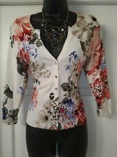 White House Black Market, S, 3/4 Cardigan Sweater, Floral