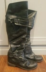 Diba Women's Boots Black Leather Size 8