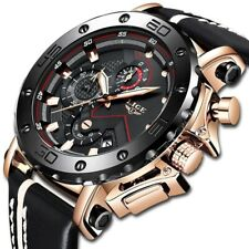 Men's Watches Luxury Big Dial Quartz Watch Leather Waterproof Sport Chronograph