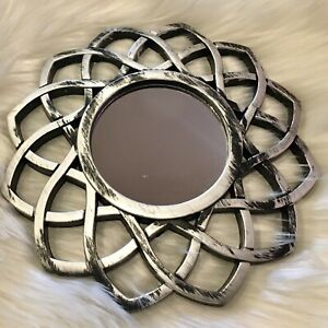 NEW! Gorgeous Silver & Black Geometric Shape Decorative Accent Mirror