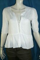 SANDRO Taille 2 - 38 Sueperbe blouse  blanche manches 3/4 femme tee shirt top