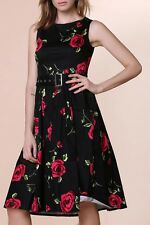 Retro Style Round Neck Sleeveless Roses Print Ball Gown Dress For Women - Red