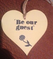 'Be Our Guest' Beauty And The Beast Wooden Heart With Rose Stamp