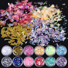 DIY Nail Art Iced Mylar Glitter Powder Acrylic UV Gel Tips Decors New 12 Colors