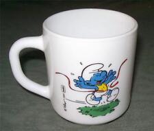 Smurf & Smurfette Sports Childs Glass Cup Mug Peyo England Vintage 1984 RARE