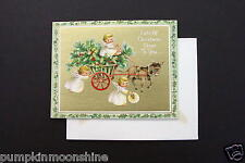 Unused Gibson Xmas Greeting Card Angels on Holly Cart, Printed in Germany, Rare