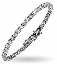 """6.55 Ct Diamond Tennis Bracelet 7"""" One Row Natural Round Diamonds 14K White Gold"""