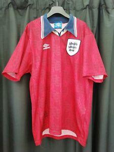 England Retro Vintage Umbro 1990 World Cup Away Shirt Red