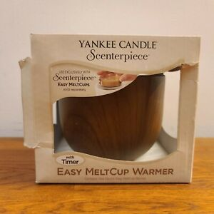 Yankee Candle Scenterpiece East MeltCup Warmer with Timer - Faux Walnut Wood NEW