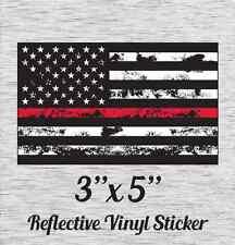 """Fire Flag Grunge Reflective Vinyl Sticker 3"""" X 5"""""""