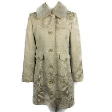 Giacca Coat Size M Brocade Tan Floral Coat Knee Length Pockets