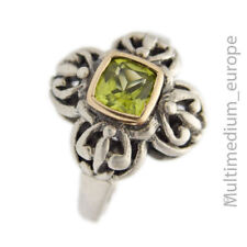 925er Sterling Silber Ring 585er Goldfassung Peridot silver gold  🌺🌺🌺🌺🌺
