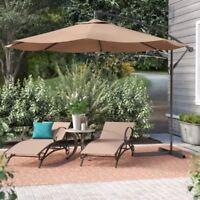 10' Ft Hanging Umbrella Patio Sun Shade Offset Outdoor UV Resistant w/  Base Tan