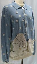 Christopher Banks CJ Hand Embroidered Christmas Cardigan Sweater Polar Bears 1X