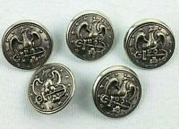 Vintage Lot 5 Eagle Stars Anchor Military Navy Officer Jacket Silver Buttons