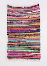 2'x3' Handmade Chindi Rugs Hand Woven Yoga Mats Floor Carpet