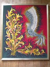 1970s Modern art tapestry French 65 x 78 Firebird framed