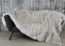Luxury White fox blanket throw, Real Fur Blanket