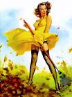 """Vintage GIL ELVGREN Pinup Girl A1 CANVAS PRINT Poster Sexy garden Rake 32"""" X 24"""""""