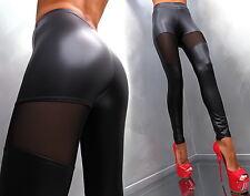 UNIQUE TRANSPARENT STRETCH SCHWARZ WET LEATHER LOOK K32 PANTS HOSE LEGGINGS M/L