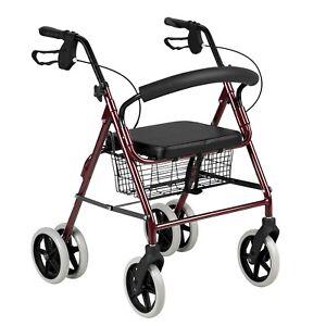 Deambulatore girello pieghevole 4 ruote rotelle con freno per anziani disabili