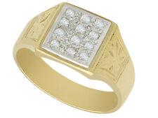 Vintage Diamond & 18k Yellow Gold Signet Ring Circa 1940