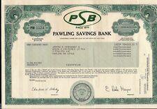 Stock certificate Pawling Savings Bank 1984 New York