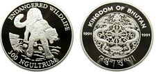 1991 Bhutan Large  Silver Proof 300 Ngultrum- Snow Leopard/Dragon