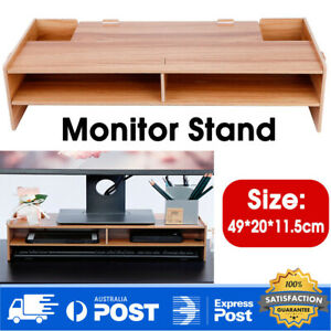 2Layer Wooden Monitor Stand LCD Computer Monitor Laptop Riser Heighten Bracket