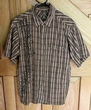 Mountain Hardwear Men's Shirt Short Sleeves Size L Snap-Front Brown Earth Tones