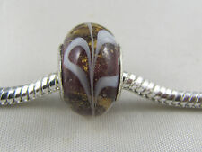 SILVER CORE AMBER/GOLD DUST MURANO GLASS BEAD EURO STYLE CHARM BRACELETS MSB 399