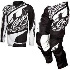 JT Racing Flexible Victory Motocross MX Kit Pantalones y Jersey - Negro, Blanco