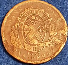 1837 Quebec Bank 1 Penny Habitant Token  ID #A10-62